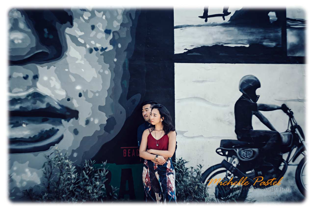 Bali pre wedding photos with graffiti